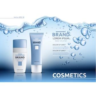 Modelo cosmético com design de água
