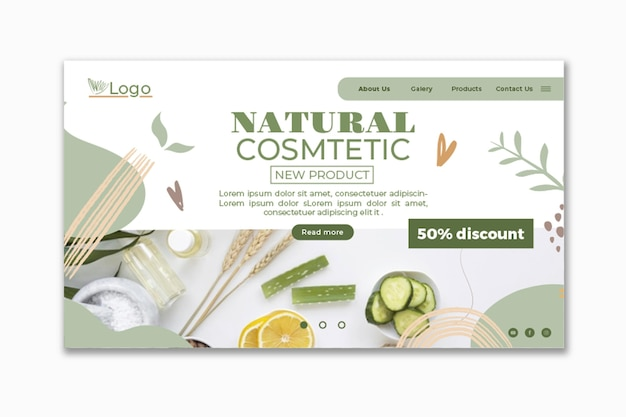 Modelo cosmético da web com foto