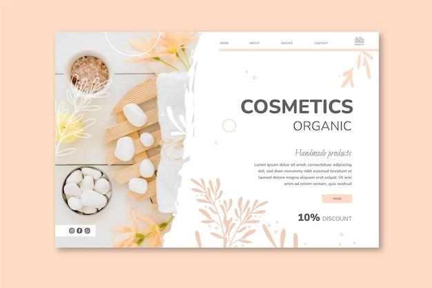 Modelo cosmético de página de destino
