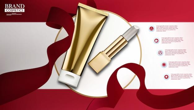 Modelo cosmético dourado com lipstic branco em um estado branco