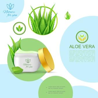 Modelo cosmético natural orgânico realista com pacote de creme saudável de cuidados com a pele e planta aloe vera