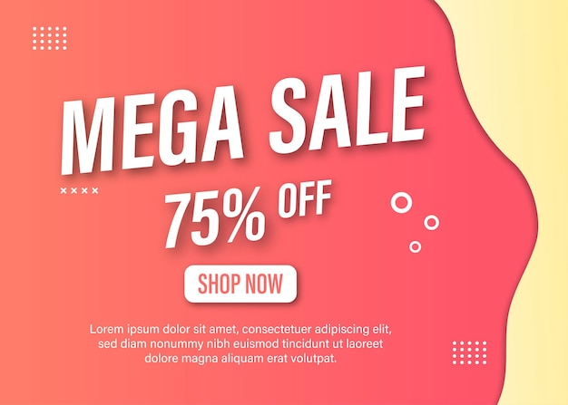Modelo criativo de banner de promoção de mega venda
