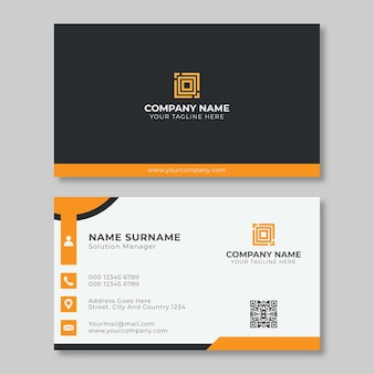 Modelo criativo de cartão de nome de empresa simples cor laranja e branco