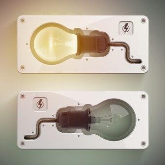 Modelo criativo de composição realista de lâmpada com luzes acesas e apagadas