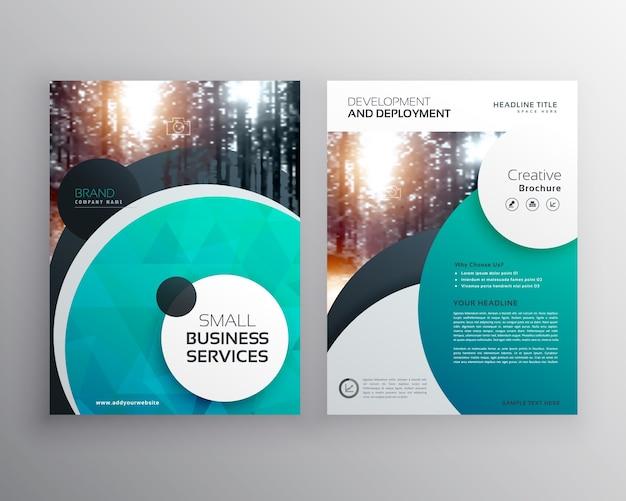 Modelo criativo de design de folheto de folhetos de negócios azuis com formas de círculo