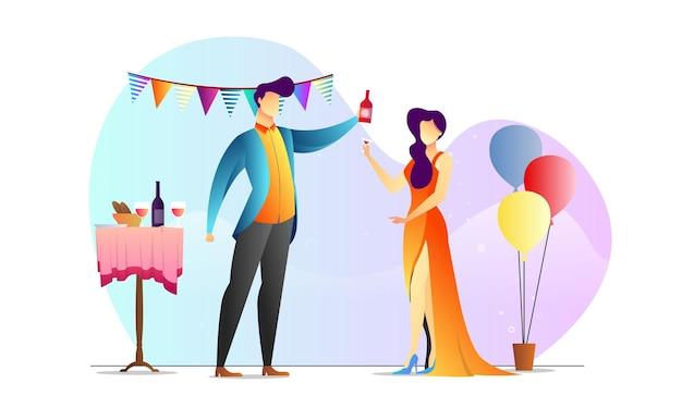 Modelo criativo de jantar de festa de homem e mulher ilustrado conceito