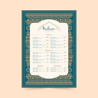 Modelo criativo de menu indiano plano