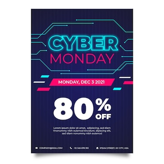 Modelo criativo de pôster cibernético de segunda-feira com desconto especial