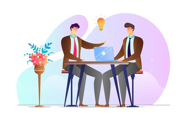 Modelo criativo de reunião de discussão de homens ilustrados de conceito