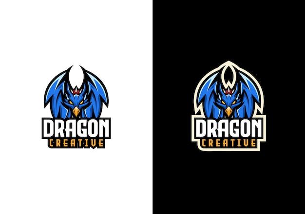 Modelo criativo do logotipo do dragão mascote do esporte