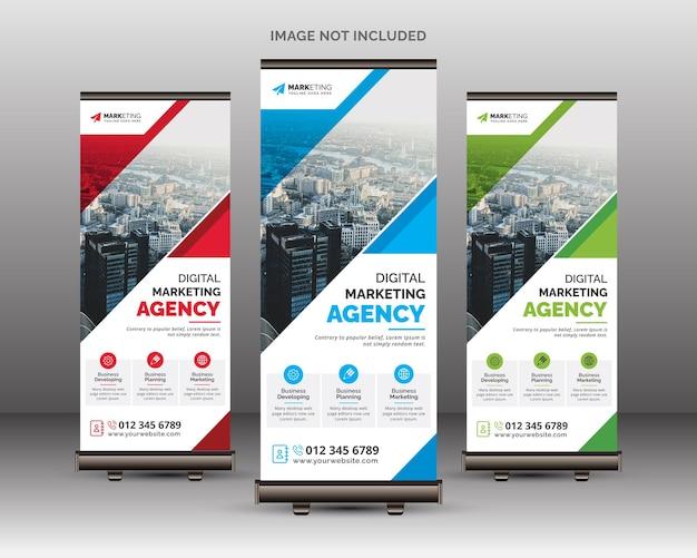 Modelo criativo e elegante de banner enrolável para solução de negócios