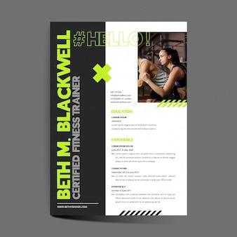 Modelo cv de instrutor de fitness certificado