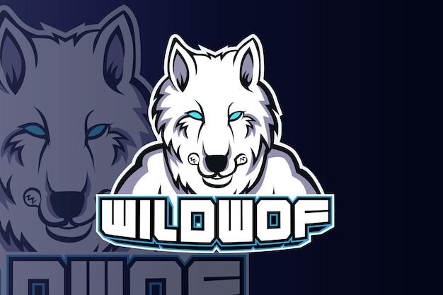 Modelo da equipe do logotipo wolf head esport