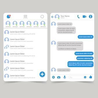 Modelo da interface do aplicativo de mídia social messenger