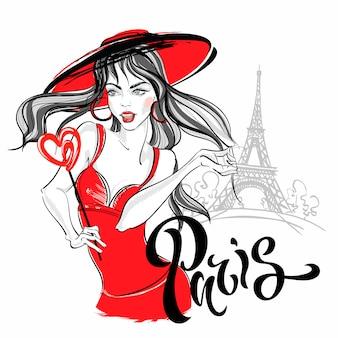 Modelo da menina em paris contra a torre eiffel. ilustração.