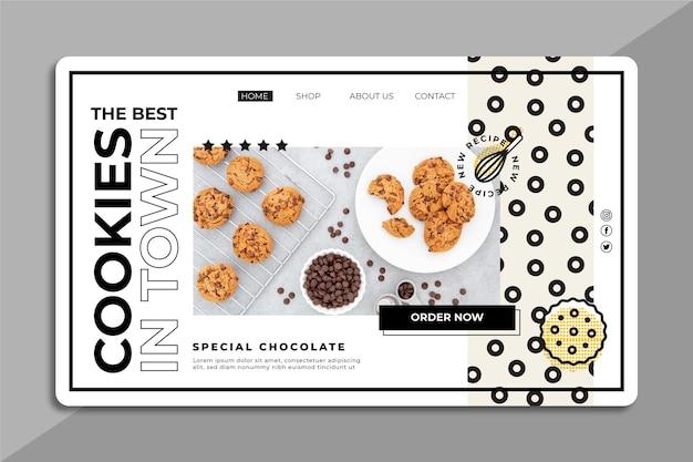 Modelo da web com foto de biscoitos
