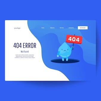 Modelo da web da página de destino. a mão da gota da água mostra do furo uma mensagem sobre a página não encontrada erro 404