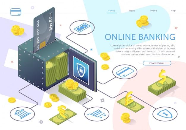 Modelo da web da página de destino. abra o cofre com notas de pilha. online banking.