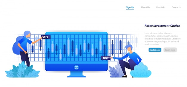 Modelo da web da página de destino. ação em um investimento financeiro comprar lucros de venda ou perda é risco em ações de investimento em ações forex.