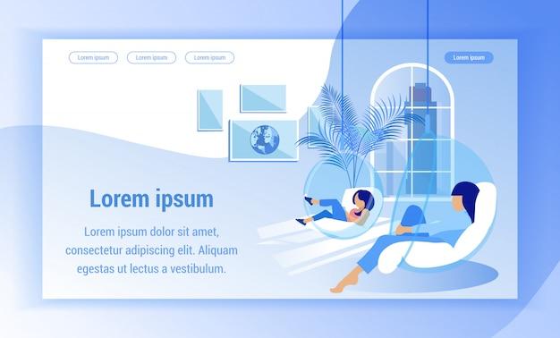 Modelo da web da página de destino. as mulheres relaxam em cadeiras de suspensão redondas transparentes.