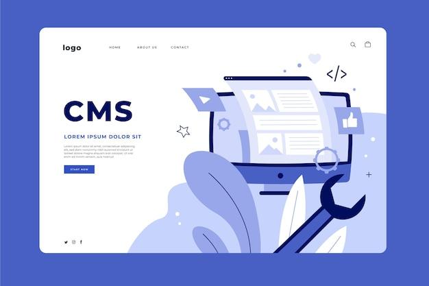 Modelo da web da página de destino cms desenhada à mão plana