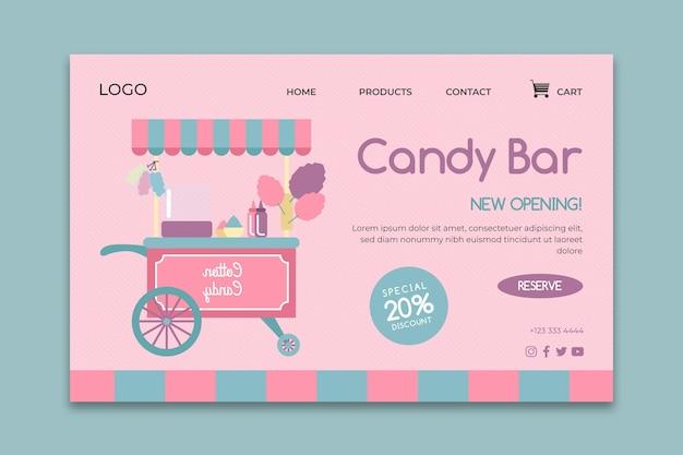 Modelo da web da página de destino comercial em barra de chocolate rosa