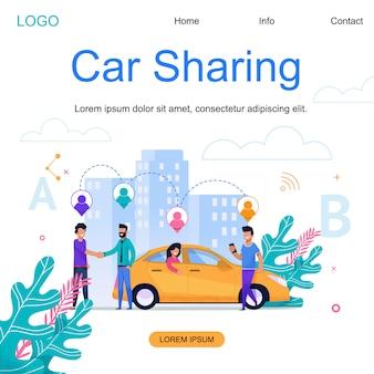 Modelo da web da página de destino. compartilhamento de carro da cidade. negócio da cidade do táxi.