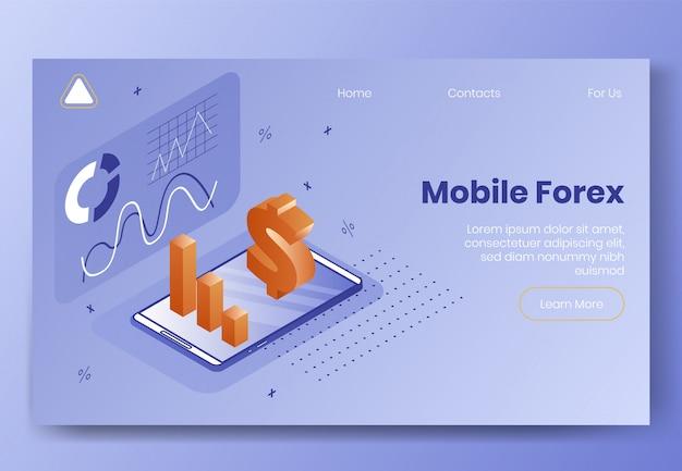 Modelo da web da página de destino. conceito de design isométrico digital
