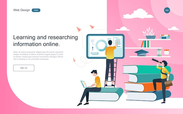 Modelo da web da página de destino. conceito de educação para aprendizagem on-line, treinamento e cursos.