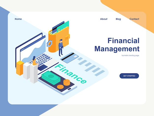 Modelo da web da página de destino. conceito de gestão financeira moderno design plano isométrico