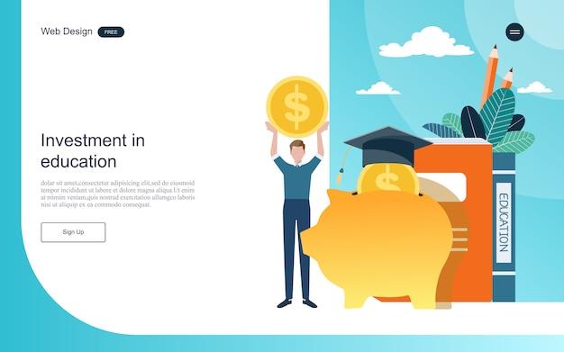 Modelo da web da página de destino. conceito de investimento para a aprendizagem on-line de educação, treinamento e cursos.