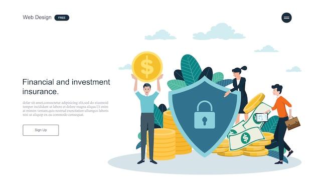 Modelo da web da página de destino. conceito de negócio para o seguro financeiro.
