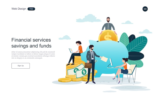 Modelo da web da página de destino. conceito de serviço financeiro, investimento e poupança.