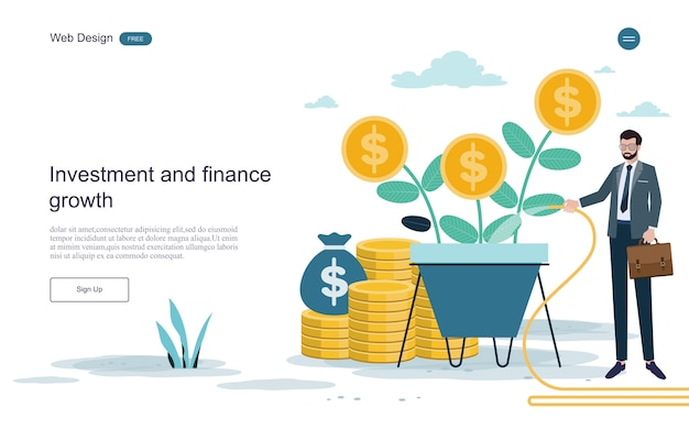 Modelo da web da página de destino. conceito para financeiro e investimento. retorno sobre o investimento.