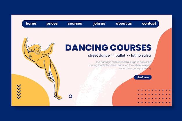 Modelo da web da página de destino da escola de cursos de dança