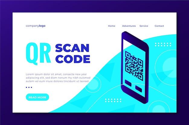 Modelo da web da página de destino da verificação de código qr