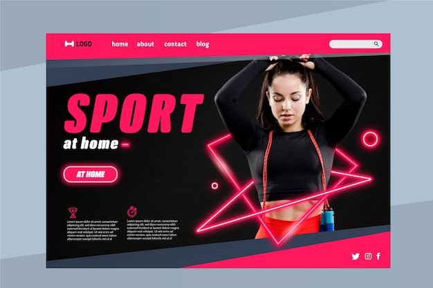 Modelo da web da página de destino de esportes