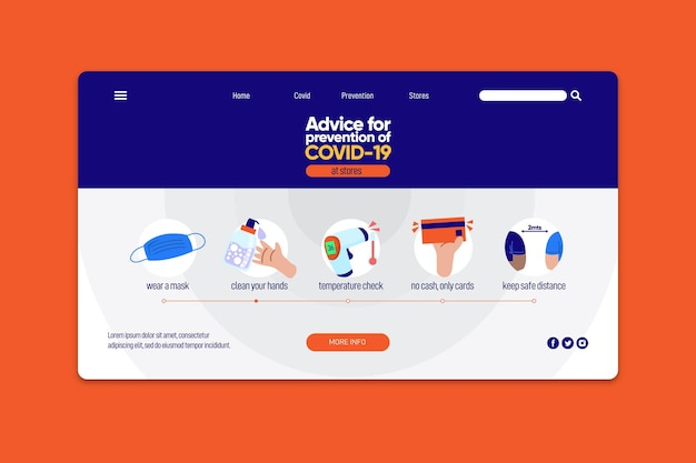 Modelo da web da página de destino de prevenção covid-19