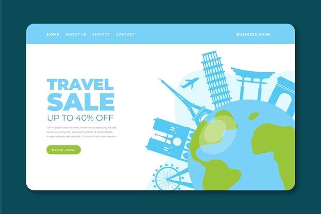 Modelo da web da página de destino de venda de viagens