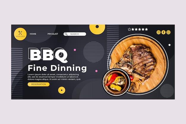 Modelo da web da página de destino do melhor restaurante de fast food para churrasco