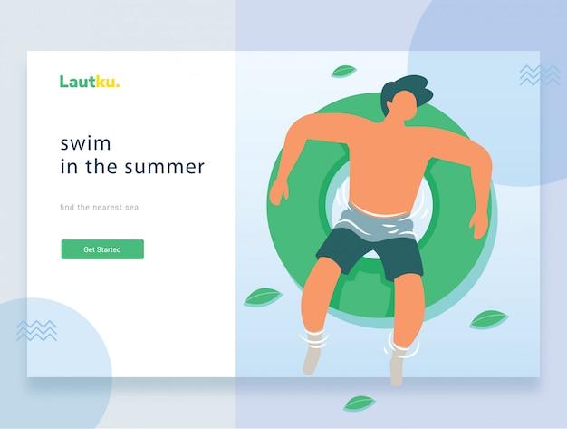 Modelo da web da página de destino. homem jovem, flutuante, ligado, um, inflável, círculo, em, um, piscina