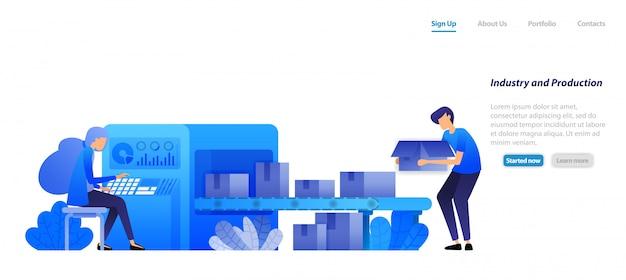 Modelo da web da página de destino. indústria de máquinas 4.0 e produção em fábrica, correias transportadoras caixas de envio de motores são operadas por uma mulher.