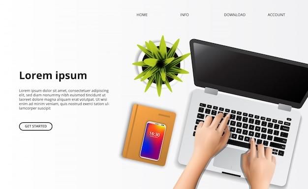 Modelo da web da página de destino. mão, digitando, ligado, a, laptop, com, planta, e, caderno, vista superior, escrivaninha