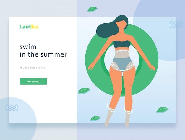 Modelo da web da página de destino. mulher relaxada flutuando em um tubo interno