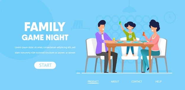 Modelo da web da página de destino. noite do jogo da família
