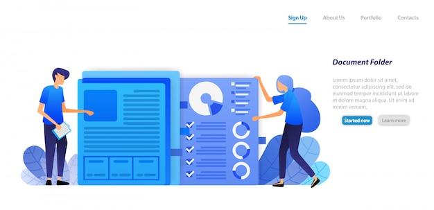 Modelo da web da página de destino. organize e organize documentos em papel do gráfico de dados financeiros da empresa em pasta para administração.