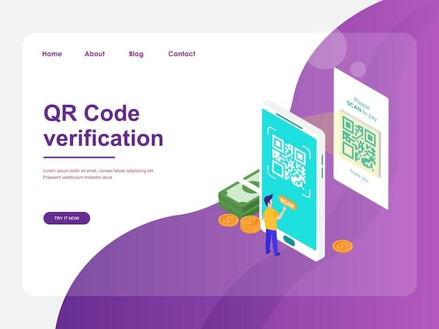 Modelo da web da página de destino. pagamento móvel com design isométrico plano de conceito de verificação de código qr