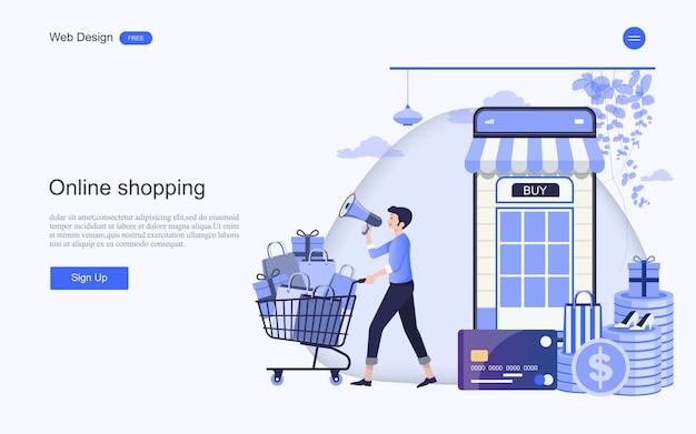 Modelo da web da página de destino para compras e serviços on-line
