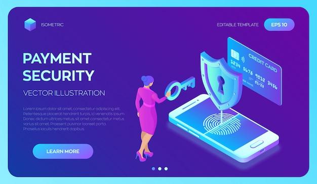 Modelo da web da página de destino para pagamentos seguros. conceito de proteção de dados