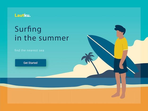 Modelo da web da página de destino. surfando o homem na praia, ilustração vetorial